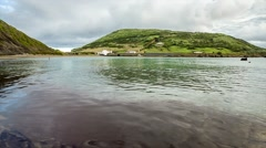 Sandy beach in the bay of Faial island in the Azores Stock Footage