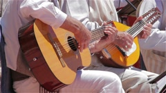 Traditional Canary musicians with guitar and bandurria Stock Footage