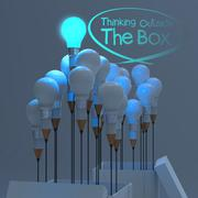 drawing idea pencil and light bulb concept outside the box as creative - stock illustration