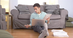 Mexican businessman working from home - stock footage