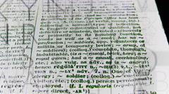 Dictionary text page flyby 01 Stock Footage