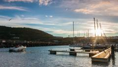 Harbor sunset in the Azores, Terceira island, Magic Lantern RAW video - stock footage