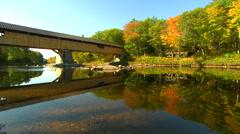 Blair rd bridge, campton,nh in fall Stock Footage