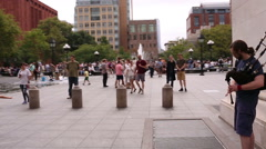 Bagpipes Music Washington Square Park New York City NYC Girl Dancing Bagpipe Stock Footage