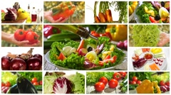 Diverse vegetables and mixed salad montage Stock Footage