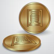 Vector illustration of gold coins with Chinese Yan currency sign - stock illustration