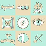 Vector set of travel and camping icons Stock Illustration
