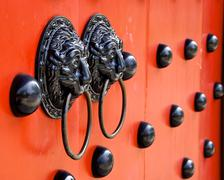 Traditional Chinese decorated with door knockers in Taiwan Stock Photos