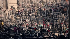 Many bicycles parked Stock Footage