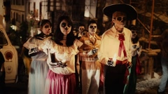 Street celebration of day of the dead - stock footage
