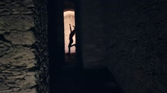 Silhouette of dancer - stock footage