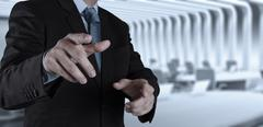businessman hand pressing an imaginary button - stock illustration