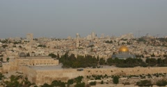 Jerusalem - Sunrise - View of Old City - 24P - Cinematic DCI 4K Stock Footage