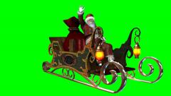 Santa with reindeers and sleigh - 5 different views - stock footage