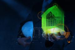 businessman hand shows house model as concept - stock illustration