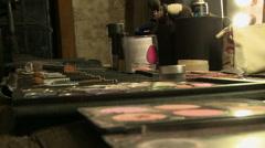 Close-up of makeup artist using cosmetics Stock Footage