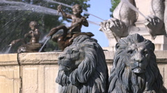 ROTUNDA FOUNTAIN LION STATUES, AIX EN PROVENCE, FRANCE Stock Footage