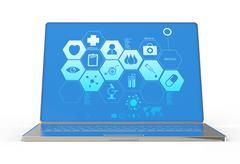 3d modern laptop computer and medical interface Stock Illustration