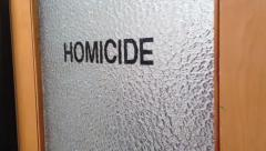 Door to police office - Title Homicide Department - stock footage