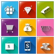 Icons with different things with monetary values - stock illustration