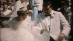 1207 - bride & groom & wedding guest - vintage film home movie Stock Footage