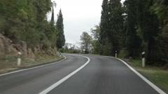 Driving on empty Mediterranean road Stock Footage