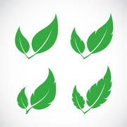 vector leaves icon set on white background - stock illustration