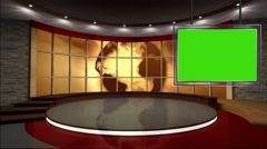 News TV Studio Set 40 - Virtual Green Screen Background Loop - stock footage