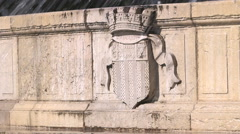 ROTUNDA FOUNTAIN PLAQUE, AIX EN PROVENCE, FRANCE Stock Footage