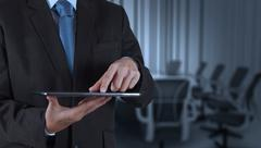 Businessman hand using tablet computer and board room Stock Illustration