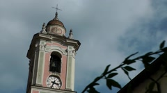 Europe Italy Liguria Airole village 019 top of baroque church tower Stock Footage