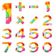 numbers set, colorful balloons - stock illustration