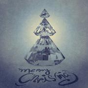 Christmas card with diamonds christmas tree Stock Illustration