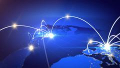 World map with global technology or social connection network. - stock footage