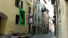 Europe Italy Liguria region Camporosso village 001 shady old alley - stock footage