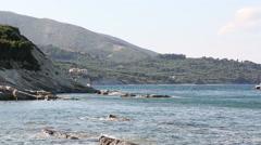 Sunny shoreline in Zakynthos, Greece Stock Footage