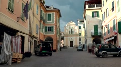 Europe Italy Liguria region Camporosso village 002 center with church Stock Footage