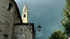 Europe Italy Liguria region Camporosso village 007 church nave and tower Stock Footage