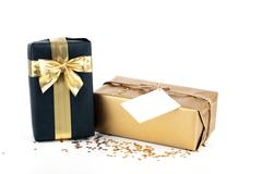 golden and black christmas gift box - stock photo