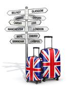 Travel concept. suitcases and signpost what to visit in uk. Stock Illustration