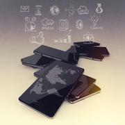 mobile phones technology business - stock illustration