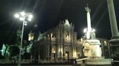 Catania, Dome, elefant, night time. - stock footage