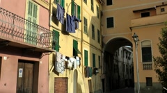 Europe Italy Liguria region Camporosso village 015 typical colorful houses Stock Footage