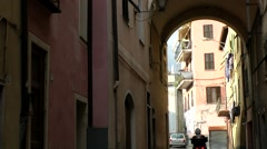 Europe Italy Liguria region Camporosso village 013 alley way out with arch Stock Footage