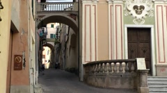 Europe Italy Liguria region Camporosso village 012 alley with arches Stock Footage