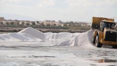 Bulldozer Works In Salt Mine Stock Footage
