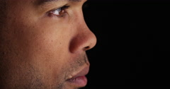 Side view of African man's face Stock Footage