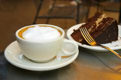 frothy coffee and chocolate cake - stock photo