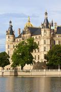 schwerin castle, seat of the landtag - stock photo
