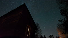 Wood Cabin Night Sky Time Lapse - stock footage